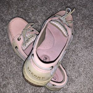 Sperrys with pink searsucker print. Size 7